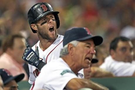 Dustin Pedroia barked at umpires from the dugout after being called out on what he thought was a checked swing in the bottom of the 8th inning.